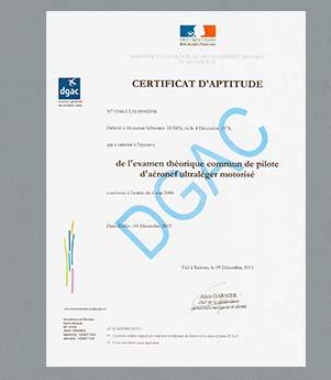 Certificat d'aptitude au pilotage de drone chimair